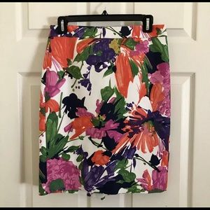 J Crew Size 0 Floral Pencil Skirt